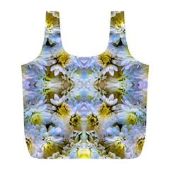 Blue Yellow Flower Girly Pattern, Full Print Recycle Bags (l)