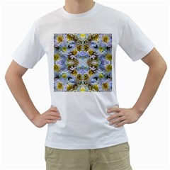 Blue Yellow Flower Girly Pattern, Men s T Shirt (white)  by Costasonlineshop