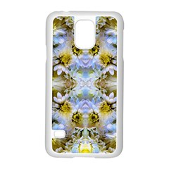 Blue Yellow Flower Girly Pattern, Samsung Galaxy S5 Case (white) by Costasonlineshop
