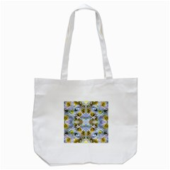 Blue Yellow Flower Girly Pattern, Tote Bag (White) by Costasonlineshop