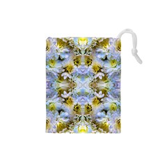 Blue Yellow Flower Girly Pattern, Drawstring Pouches (small)  by Costasonlineshop