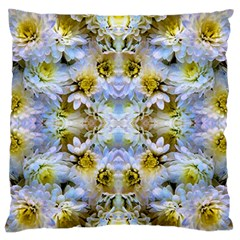 Blue Yellow Flower Girly Pattern, Large Flano Cushion Case (two Sides)