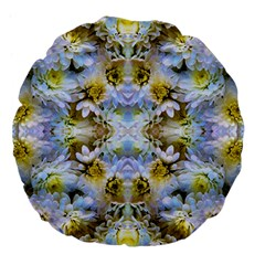 Blue Yellow Flower Girly Pattern, Large 18  Premium Flano Round Cushions by Costasonlineshop