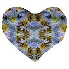 Blue Yellow Flower Girly Pattern, Large 19  Premium Flano Heart Shape Cushions