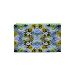 Blue Yellow Flower Girly Pattern, Cosmetic Bag (xs)