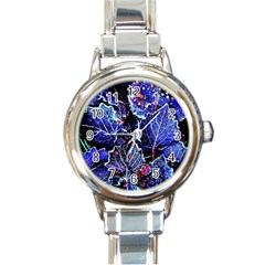 Blue Leaves In Morning Dew Round Italian Charm Watch by Costasonlineshop