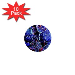 Blue Leaves In Morning Dew 1  Mini Magnet (10 Pack)  by Costasonlineshop