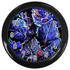 Blue Leaves In Morning Dew Wall Clocks (black)