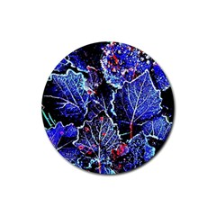 Blue Leaves In Morning Dew Rubber Coaster (round)