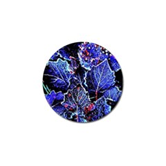 Blue Leaves In Morning Dew Golf Ball Marker (4 Pack) by Costasonlineshop