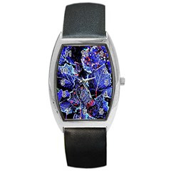 Blue Leaves In Morning Dew Barrel Style Metal Watch by Costasonlineshop