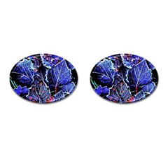 Blue Leaves In Morning Dew Cufflinks (oval) by Costasonlineshop
