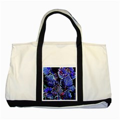 Blue Leaves In Morning Dew Two Tone Tote Bag by Costasonlineshop