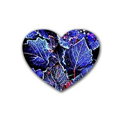 Blue Leaves In Morning Dew Heart Coaster (4 Pack)