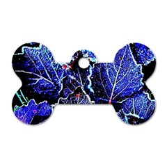 Blue Leaves In Morning Dew Dog Tag Bone (one Side) by Costasonlineshop