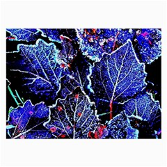 Blue Leaves In Morning Dew Large Glasses Cloth (2 Side) by Costasonlineshop