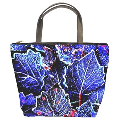 Blue Leaves In Morning Dew Bucket Bags