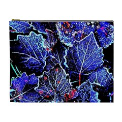 Blue Leaves In Morning Dew Cosmetic Bag (xl) by Costasonlineshop