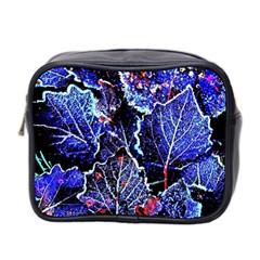 Blue Leaves In Morning Dew Mini Toiletries Bag 2 Side