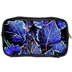 Blue Leaves In Morning Dew Toiletries Bags 2 Side by Costasonlineshop