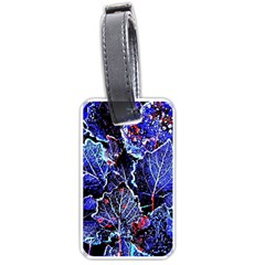 Blue Leaves In Morning Dew Luggage Tags (one Side)  by Costasonlineshop