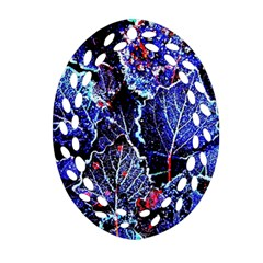 Blue Leaves In Morning Dew Ornament (oval Filigree)  by Costasonlineshop