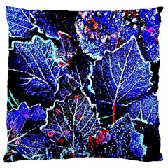 Blue Leaves In Morning Dew Large Cushion Case (two Sides) by Costasonlineshop