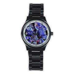 Blue Leaves In Morning Dew Stainless Steel Round Watch by Costasonlineshop