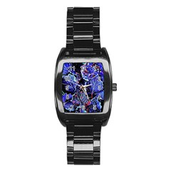 Blue Leaves In Morning Dew Stainless Steel Barrel Watch by Costasonlineshop