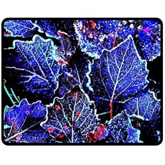 Blue Leaves In Morning Dew Double Sided Fleece Blanket (medium)  by Costasonlineshop