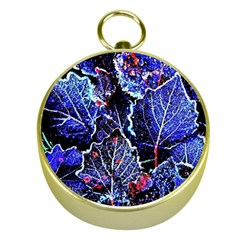 Blue Leaves In Morning Dew Gold Compasses by Costasonlineshop