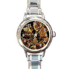 Leaves In Morning Dew,yellow Brown,red, Round Italian Charm Watch by Costasonlineshop