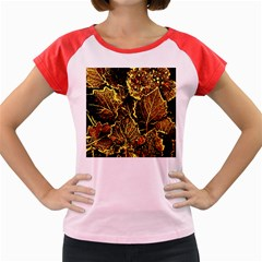 Leaves In Morning Dew,yellow Brown,red, Women s Cap Sleeve T Shirt