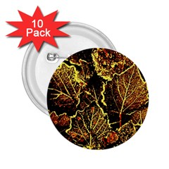 Leaves In Morning Dew,yellow Brown,red, 2 25  Buttons (10 Pack)