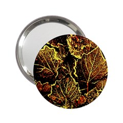 Leaves In Morning Dew,yellow Brown,red, 2 25  Handbag Mirrors