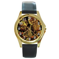Leaves In Morning Dew,yellow Brown,red, Round Gold Metal Watch