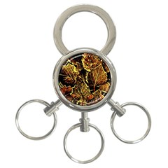 Leaves In Morning Dew,yellow Brown,red, 3 Ring Key Chains