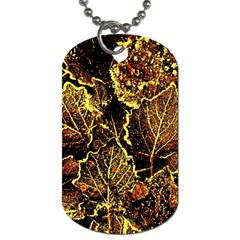 Leaves In Morning Dew,yellow Brown,red, Dog Tag (two Sides) by Costasonlineshop