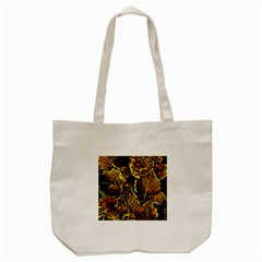 Leaves In Morning Dew,yellow Brown,red, Tote Bag (cream) by Costasonlineshop