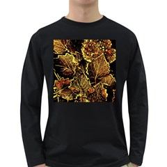 Leaves In Morning Dew,yellow Brown,red, Long Sleeve Dark T Shirts
