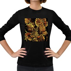 Leaves In Morning Dew,yellow Brown,red, Women s Long Sleeve Dark T Shirts