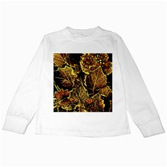 Leaves In Morning Dew,yellow Brown,red, Kids Long Sleeve T Shirts by Costasonlineshop