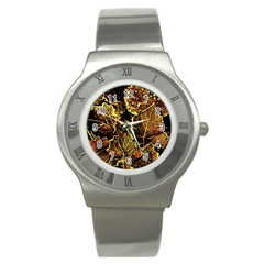 Leaves In Morning Dew,yellow Brown,red, Stainless Steel Watch by Costasonlineshop