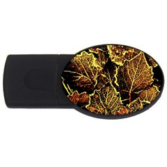 Leaves In Morning Dew,yellow Brown,red, Usb Flash Drive Oval (4 Gb)  by Costasonlineshop