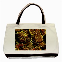 Leaves In Morning Dew,yellow Brown,red, Basic Tote Bag by Costasonlineshop