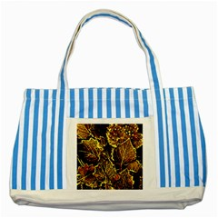 Leaves In Morning Dew,yellow Brown,red, Striped Blue Tote Bag by Costasonlineshop