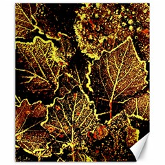 Leaves In Morning Dew,yellow Brown,red, Canvas 20  X 24   by Costasonlineshop