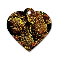 Leaves In Morning Dew,yellow Brown,red, Dog Tag Heart (two Sides) by Costasonlineshop