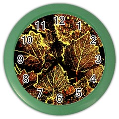 Leaves In Morning Dew,yellow Brown,red, Color Wall Clocks