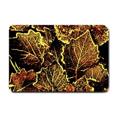 Leaves In Morning Dew,yellow Brown,red, Small Doormat